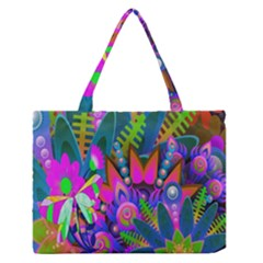 Wild Abstract Design Medium Zipper Tote Bag by Simbadda