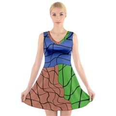 Abstract Art Mixed Colors V Neck Sleeveless Skater Dress