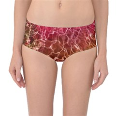 Background Water Abstract Red Wallpaper Mid Waist Bikini Bottoms