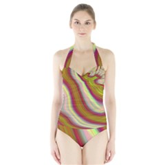 Artificial Colorful Lava Background Halter Swimsuit by Simbadda