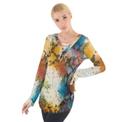 Abstract Color Splash Background Colorful Wallpaper Women s Tie Up Tee by Simbadda