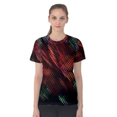 Abstract Green And Red Background Women s Cotton Tee by Simbadda