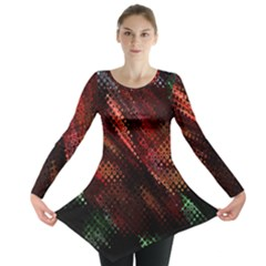 Abstract Green And Red Background Long Sleeve Tunic  by Simbadda
