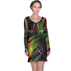 Colorful Background Star Long Sleeve Nightdress
