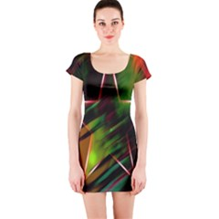 Colorful Background Star Short Sleeve Bodycon Dress