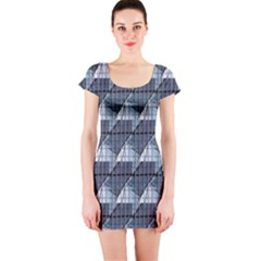 Snow Peak Abstract Blue Wallpaper Short Sleeve Bodycon Dress by Simbadda