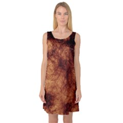 Abstract Brown Smoke Sleeveless Satin Nightdress