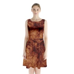 Abstract Brown Smoke Sleeveless Chiffon Waist Tie Dress