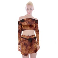 Abstract Brown Smoke Off Shoulder Top With Skirt Set
