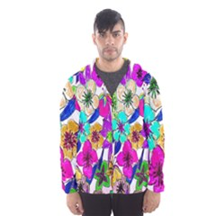 Floral Colorful Background Of Hand Drawn Flowers Hooded Wind Breaker (men) by Simbadda