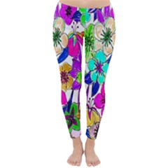 Floral Colorful Background Of Hand Drawn Flowers Classic Winter Leggings