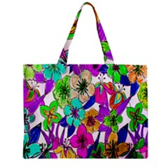 Floral Colorful Background Of Hand Drawn Flowers Zipper Mini Tote Bag by Simbadda