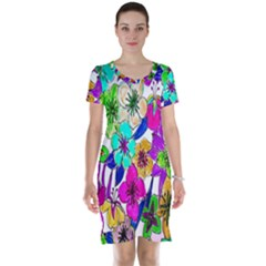 Floral Colorful Background Of Hand Drawn Flowers Short Sleeve Nightdress