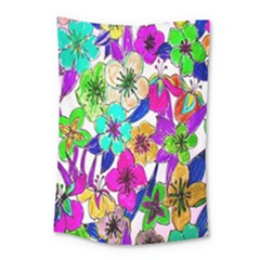 Floral Colorful Background Of Hand Drawn Flowers Small Tapestry