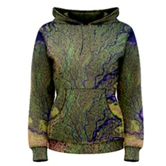 Lena River Delta A Photo Of A Colorful River Delta Taken From A Satellite Women s Pullover Hoodie