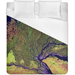 Lena River Delta A Photo Of A Colorful River Delta Taken From A Satellite Duvet Cover (california King Size)
