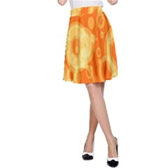 Retro Orange Circle Background Abstract A-line Skirt by Nexatart