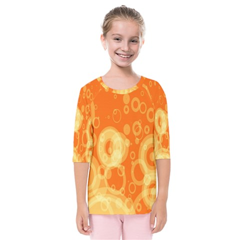 Retro Orange Circle Background Abstract Kids  Quarter Sleeve Raglan Tee by Nexatart