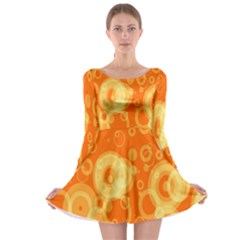 Retro Orange Circle Background Abstract Long Sleeve Skater Dress