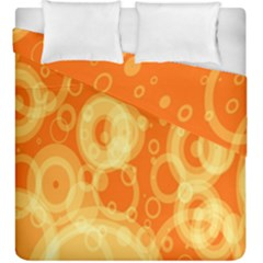 Retro Orange Circle Background Abstract Duvet Cover Double Side (king Size) by Nexatart