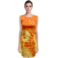 Retro Orange Circle Background Abstract Classic Sleeveless Midi Dress