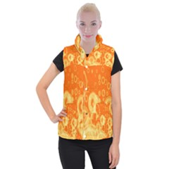 Retro Orange Circle Background Abstract Women s Button Up Puffer Vest by Nexatart