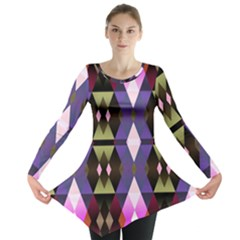 Geometric Abstract Background Art Long Sleeve Tunic  by Nexatart