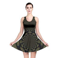 Dark Portal Fractal Esque Background Reversible Skater Dress