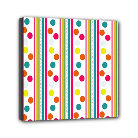 Stripes And Polka Dots Colorful Pattern Wallpaper Background Mini Canvas 6  X 6  by Nexatart