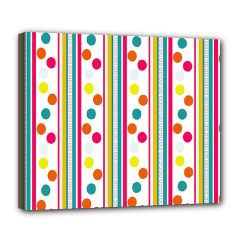 Stripes And Polka Dots Colorful Pattern Wallpaper Background Deluxe Canvas 24  X 20   by Nexatart