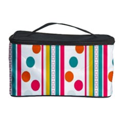 Stripes And Polka Dots Colorful Pattern Wallpaper Background Cosmetic Storage Case by Nexatart