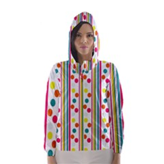 Stripes And Polka Dots Colorful Pattern Wallpaper Background Hooded Wind Breaker (women)