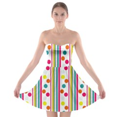 Stripes And Polka Dots Colorful Pattern Wallpaper Background Strapless Bra Top Dress by Nexatart