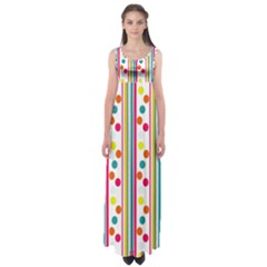 Stripes And Polka Dots Colorful Pattern Wallpaper Background Empire Waist Maxi Dress by Nexatart