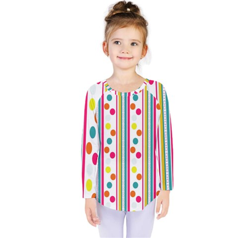 Stripes And Polka Dots Colorful Pattern Wallpaper Background Kids  Long Sleeve Tee by Nexatart