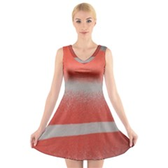 Orange Stripes Colorful Background Textile Cotton Cloth Pattern Stripes Colorful Orange Neo V-neck Sleeveless Skater Dress by Nexatart