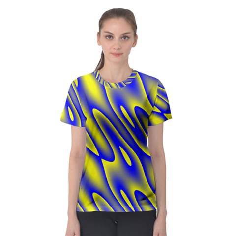 Blue Yellow Wave Abstract Background Women s Sport Mesh Tee by Nexatart