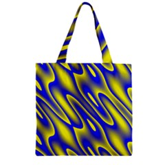 Blue Yellow Wave Abstract Background Zipper Grocery Tote Bag by Nexatart