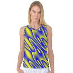 Blue Yellow Wave Abstract Background Women s Basketball Tank Top
