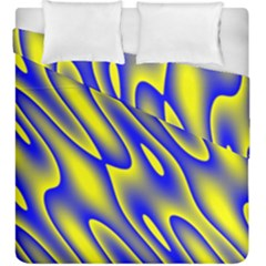 Blue Yellow Wave Abstract Background Duvet Cover Double Side (king Size)