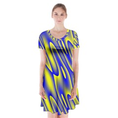 Blue Yellow Wave Abstract Background Short Sleeve V Neck Flare Dress by Nexatart