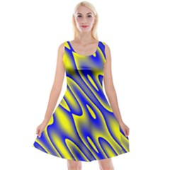 Blue Yellow Wave Abstract Background Reversible Velvet Sleeveless Dress by Nexatart