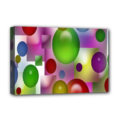 Colored Bubbles Squares Background Deluxe Canvas 18  X 12   by Nexatart