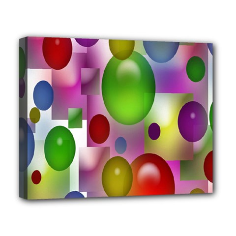 Colored Bubbles Squares Background Deluxe Canvas 20  X 16   by Nexatart