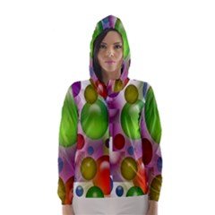 Colored Bubbles Squares Background Hooded Wind Breaker (women)