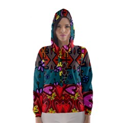 Digitally Created Abstract Patchwork Collage Pattern Hooded Wind Breaker (women)