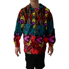 Digitally Created Abstract Patchwork Collage Pattern Hooded Wind Breaker (kids) by Nexatart