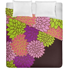 Floral Card Template Bright Colorful Dahlia Flowers Pattern Background Duvet Cover Double Side (california King Size) by Nexatart