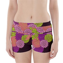 Floral Card Template Bright Colorful Dahlia Flowers Pattern Background Boyleg Bikini Wrap Bottoms