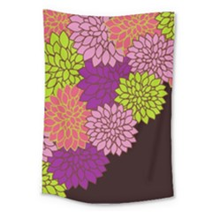 Floral Card Template Bright Colorful Dahlia Flowers Pattern Background Large Tapestry by Nexatart